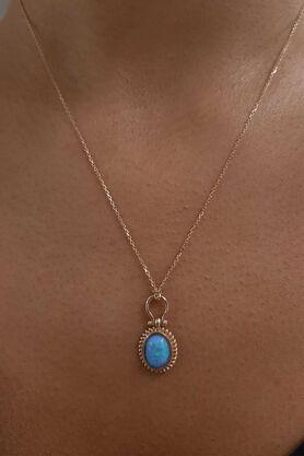 Fiyonk Kuyumculuk - Açık Mavi Opal Taşlı Altın Kolye