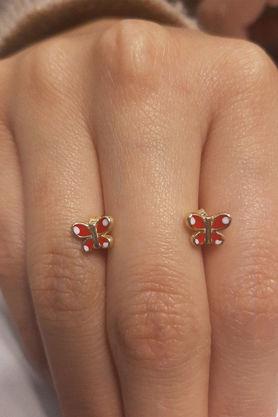Fiyonk Kuyumculuk - Kırmızı Kelebek Altın Küpe
