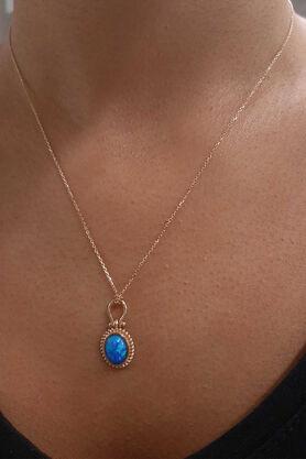 Fiyonk Kuyumculuk - Koyu Mavi Opal Taşlı Altın Kolye